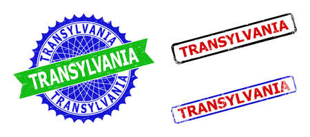 Bicolor TRANSYLVANIA seal stamps. Blue and green TRANSYLVANIA seal stamp with sharp rosette and ribbon design elements. Rounded rough rectangular framed TRANSYLVANIA watermarks in red, blue,