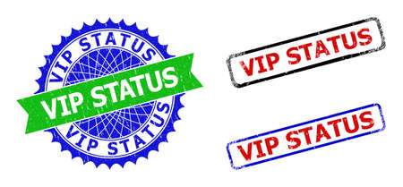 Bicolor VIP STATUS seal stamps. Green and blue VIP STATUS badge with sharp rosette and ribbon. Rounded rough rectangular framed VIP STATUS seal stamps in red, blue, black colors,