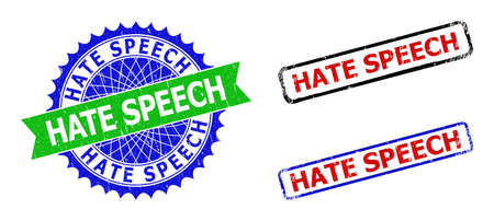 Bicolor HATE SPEECH stamps. Blue and green HATE SPEECH seal stamp with sharp rosette and ribbon design elements. Rounded rough rectangular framed HATE SPEECH stamps in red, blue, black colors,