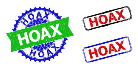 Bicolor HOAX seal stamps. Blue and green HOAX seal stamp with sharp rosette and ribbon elements. Rounded rough rectangle framed HOAX stamps in red, blue, black colors, with unclean surface.