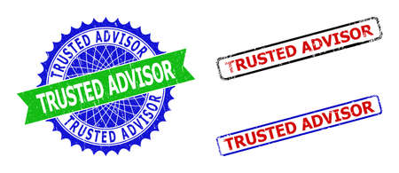 Bicolor TRUSTED ADVISOR watermarks. Blue and green TRUSTED ADVISOR watermark with sharp rosette and ribbon elements. Rounded rough rectangular framed TRUSTED ADVISOR watermarks in red, blue,