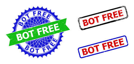 Bicolor BOT FREE stamps. Green and blue BOT FREE seal stamp with sharp rosette and ribbon. Rounded rough rectangular framed BOT FREE seal stamps in red, blue, black colors, with scratched texture.