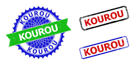 Bicolor KOUROU stamps. Green and blue KOUROU seal with sharp rosette and ribbon design elements. Rounded rough rectangle framed KOUROU seal stamps in red, blue, black colors, with unclean surface.