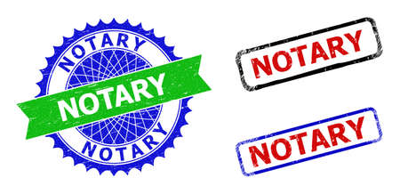 Bicolor NOTARY seal stamps. Green and blue NOTARY seal stamp with sharp rosette and ribbon design elements. Rounded rough rectangular framed NOTARY seal stamps.
