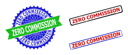 Bicolor ZERO COMMISSION seal stamps. Green and blue ZERO COMMISSION seal stamp with sharp rosette and ribbon design elements. Rounded rough rectangle framed ZERO COMMISSION seal stamps in red, blue,
