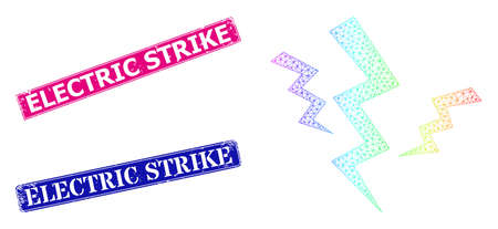 Spectral colorful network crack strikes, and Electric Strike dirty framed rectangle stamp seals. Pink and blue rectangle seals have Electric Strike caption.