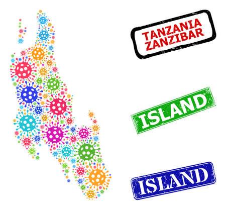 Vector collage Zanzibar Island map, and grunge Island badges. Vector multi-colored Zanzibar Island map collage, and Island rubber framed rectangle stamps. Vektoros illusztráció