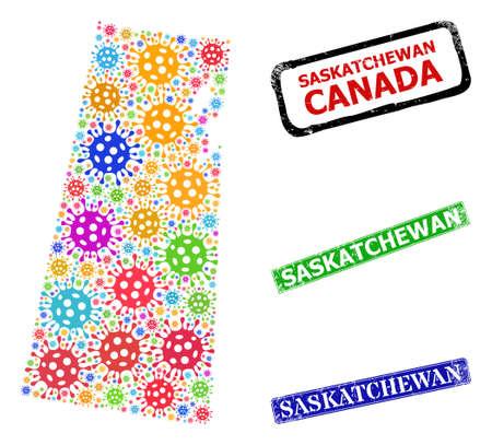 Vector contagious collage Saskatchewan Province map, and grunge Saskatchewan seal stamps. Vector vibrant Saskatchewan Province map collage, and Saskatchewan grunge framed rectangle seal prints. Vektoros illusztráció