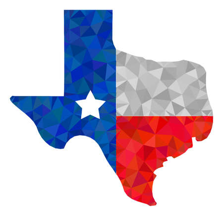 Low-poly texas map logo constructed with scattered filled triangles. Triangle texas map logo polygonal symbol illustration. Texas Map Logo icon is filled with triangles.