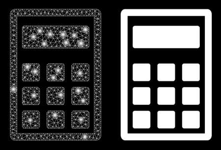 Glossy mesh vector calculator with glare effect. White mesh, light spots on a black background with calculator icon. Mesh and glare elements are placed on different layers.