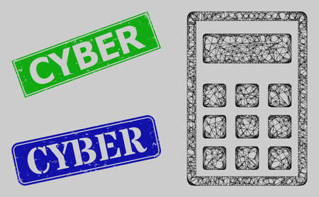 Wireframe net mesh calculator model, and Cyber blue and green rectangular textured seals. Frame net mesh image is based on calculator pictogram. Seals contain Cyber title inside rectangular form.