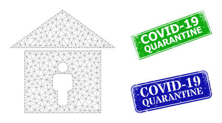 Polygonal self isolation image, and Covid-19 Quarantine blue and green rectangular grunge stamp seals. Polygonal wireframe symbol is created from self isolation pictogram.