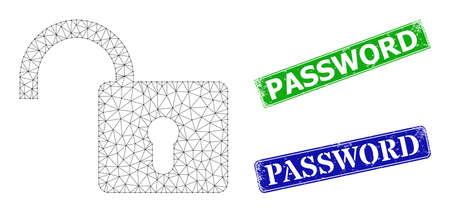 Mesh open lock image, and Password blue and green rectangular textured stamp seals. Mesh wireframe symbol based on open lock icon. Seals contain Password tag inside rectangular form. Vektoros illusztráció