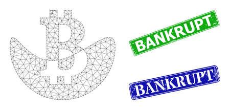 Polygonal melting bitcoin image, and Bankrupt blue and green rectangular textured seals. Polygonal carcass image based on melting bitcoin icon. Seals have Bankrupt title inside rectangular shape. Vektorové ilustrace
