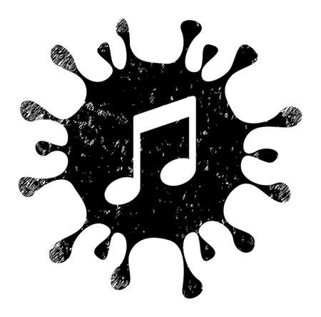 Virus melody icon with grunge style. Isolated vector virus melody icon image with scratched rubber texture on a white background.