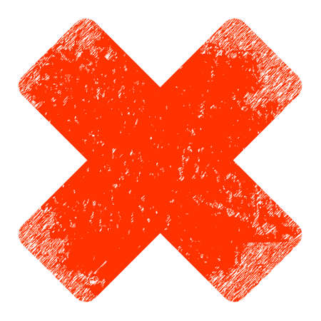 Reject icon with grunge style. Isolated raster reject icon image with grunge rubber texture on a white background.