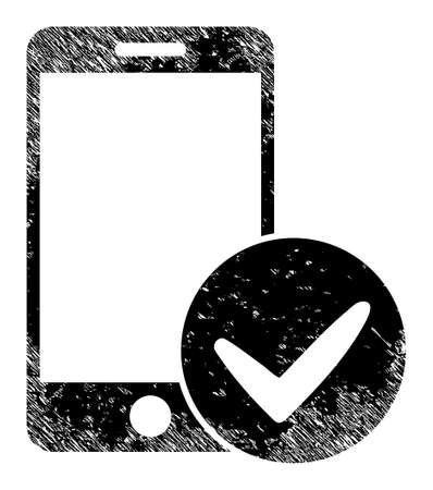 Approved smartphone icon with grunge effect. Isolated raster approved smartphone icon image with grunge rubber texture on a white background. Banque d'images