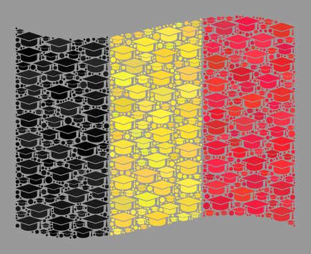 Mosaic waving Belgium flag designed of graduation cap elements. Graduation vector collage waving Belgium flag combined for academy projects. Belgium flag collage is made of random academy pictograms.