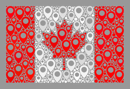 Mosaic navigation Canada flag designed of cursor items. Vector collage straight Canada flag combined for navigation projects. Canada flag collage is formed from randomized tag particles.