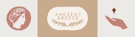 Olive branch symbol, Greek god, Hand with a star