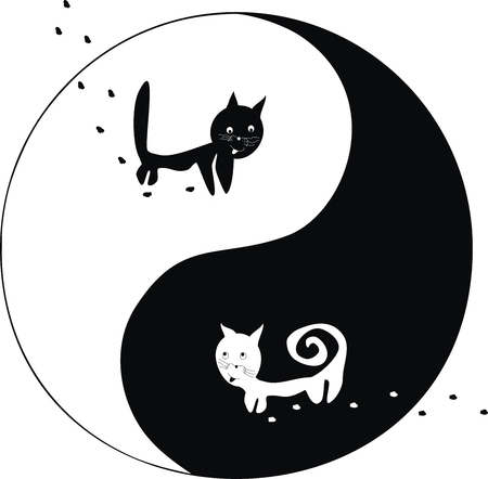 elemental: cats. Ying and Yang Illustration