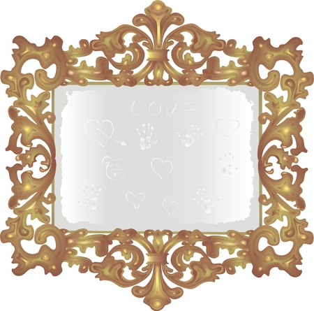 reflection in mirror: old dusty mirror