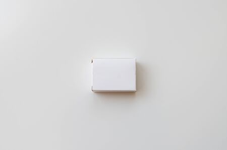 White cardboard box on white background. Top view