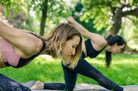 Two women enjoying a yoga session in the park. Close up view