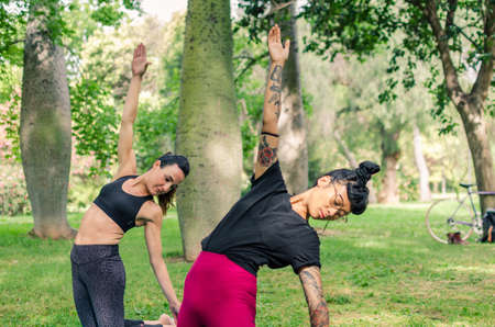 Two women enjoying a yoga session in the park. Ustrasana pose