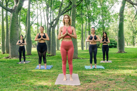 Five women enjoying a yoga session in the park. Anjali Mudra salutation seal 写真素材