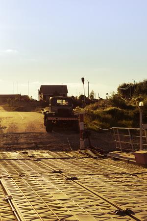 prefab: a truck standing on the river bank kraz-255. oka, ryazan