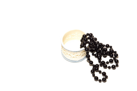 ball and chain: Black beads and heart with box