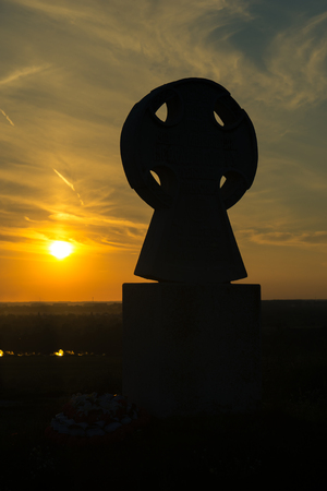 cross silhouette with the sunset as background, Ryazan Stock Photo