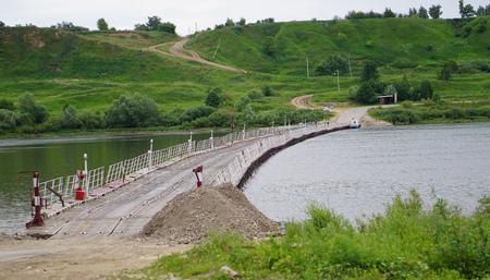 oka: Spaskiy pontoon bridge over the Oka river, Rjazan Stock Photo