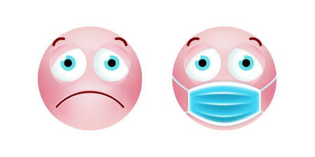Cute Pink Emoticon with Cartoon Style with Medical Facial Mask on White Background . Isolated Vector Illustration Ilustração