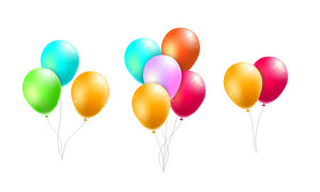 Set of Realistic Isolated Colorful Balloons on White Background Фото со стока