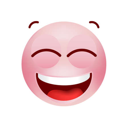Cute Emoticon with Cartoon Style on White Background . Isolated Vector Illustration