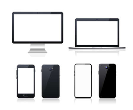 Set of Technological Devices with Blank Screen on Background . Isolated Vector Elements Vecteurs