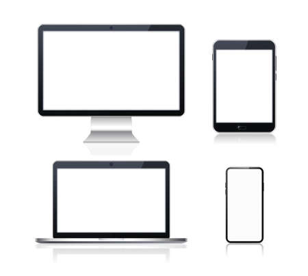 Set of Technological Devices with Blank Screen on Background . Isolated Vector Elements