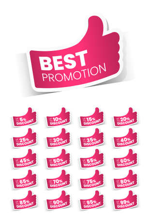 Pink Sale Label with Discount Offer . Promotion Design . Isolated Vector Tag Images Ilustração