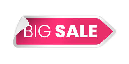 Pink Sale Label with Discount Offer . Promotion Design . Isolated Vector Tag Images