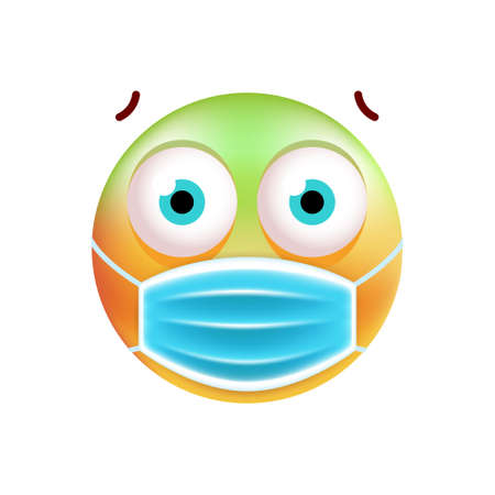 Realistic Cute Emoticon with Face Mask on White Background . Isolated Vector Illustration Ilustración de vector