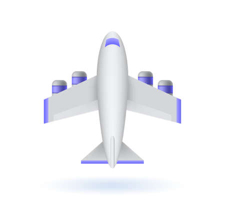 Realistic Cute Airplane Icon on White Background . Isolated Vector Illustration Ilustração Vetorial