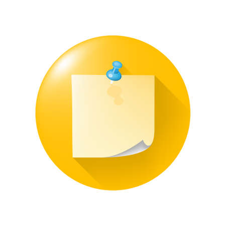 Realistic Glossy Sticker Colored Icon on Yellow Button on White Background . Isolated Vector Elements