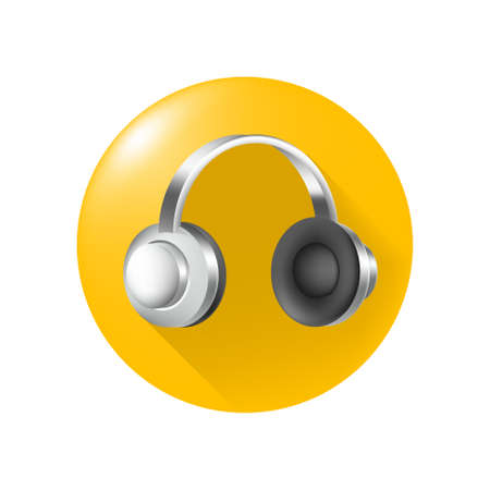Cute Headphones Icon on Yellow Button on White Background . Isolated Vector Illustration Çizim