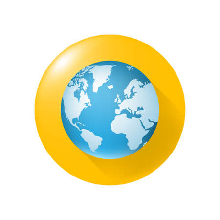 Realistic Glossy Globe Colored Icon on Yellow Button on White Background . Isolated Vector Elements