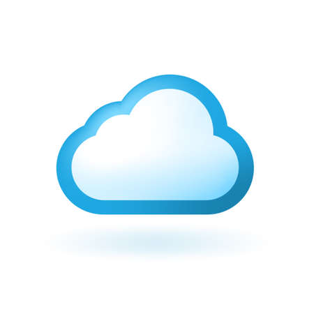 Realistic Glossy Cloud Colored Icon on White Background . Isolated Vector Elements Ilustração
