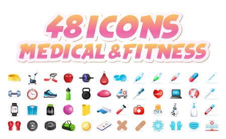 Set of Realistic High Quality Colorful Icons on White Background . Isolated Vector Elements