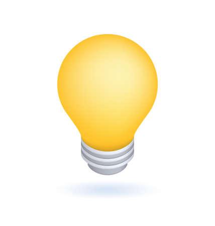 Cute Realistic Lightbulb Icon on White Background . Isolated Vector Illustration Ilustração