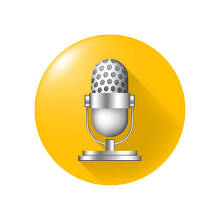 Cute Microphone Icon on Yellow Button on White Background . Isolated Vector Illustration Çizim